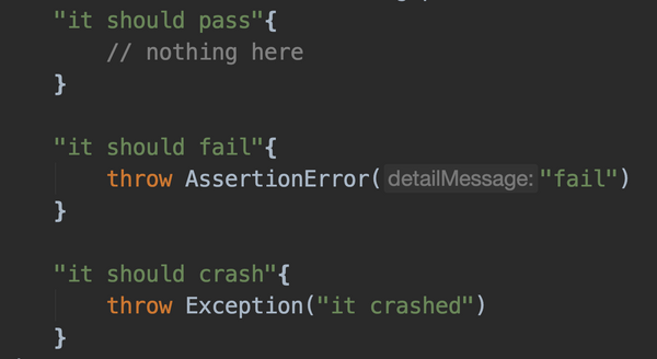 Test execution basics: passed, failed, crashed